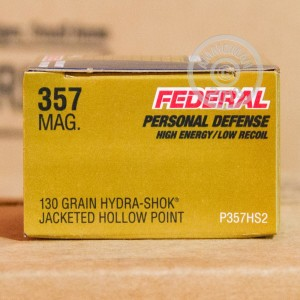 A photograph detailing the 357 Magnum ammo with JHP bullets made by Federal.
