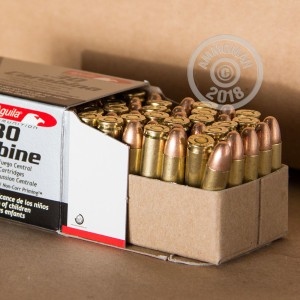 A photo of a box of Aguila ammo in .30 Carbine.