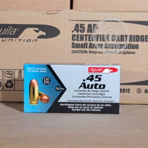 A photograph detailing the .45 Automatic ammo with FMJ bullets made by Aguila.