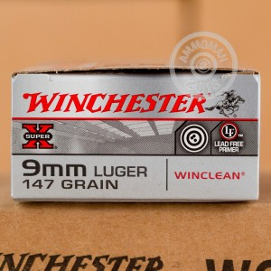 A photograph of 500 rounds of 147 grain 9mm Luger ammo with a brass enclosed base bullet for sale.