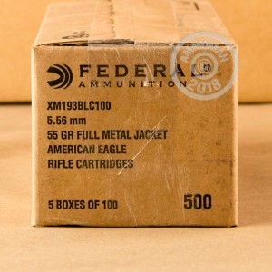 Image of 5.56x45mm ammo by Federal that's ideal for training at the range.