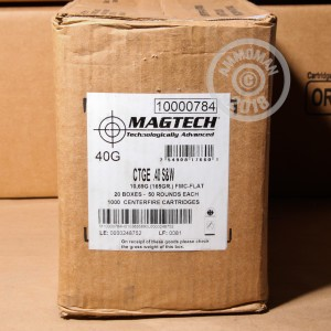 A photo of a box of Magtech ammo in .40 Smith & Wesson.