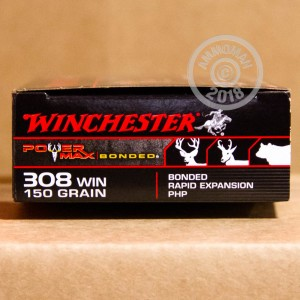 Image of 308 / 7.62x51 ammo by Winchester that's ideal for big game hunting, hunting wild pigs, whitetail hunting.