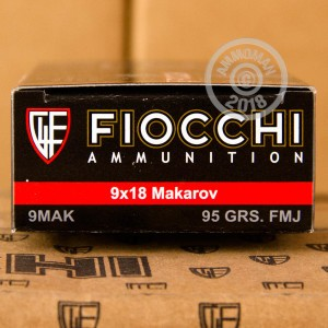 A photograph detailing the 9x18 Makarov ammo with FMJ bullets made by Fiocchi.