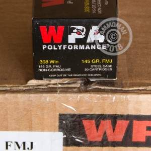 A photograph detailing the 308 / 7.62x51 ammo with FMJ bullets made by Wolf.