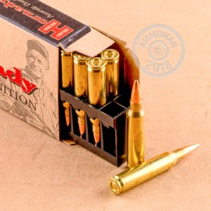 Image of 223 Remington ammo by Hornady that's ideal for hunting varmint sized game, precision shooting.