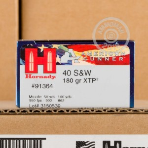 An image of .40 Smith & Wesson ammo made by Hornady at AmmoMan.com.