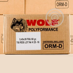 Image of bulk 5.45 x 39 Russian ammo by Wolf that's ideal for training at the range.
