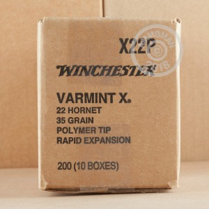 A photo of a box of Winchester ammo in 22 Hornet.
