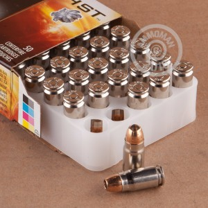 A photograph detailing the 357 SIG ammo with JHP bullets made by Federal.