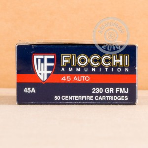 Image of .45 Automatic ammo by Fiocchi that's ideal for precision shooting, shooting indoors, training at the range.