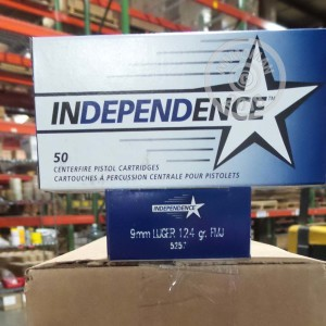 A photo of a box of Independence ammo in 9mm Luger.
