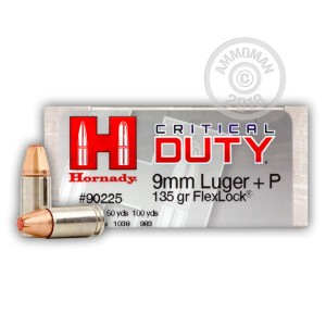 A photograph of 50 rounds of 135 grain 9mm Luger ammo with a JHP bullet for sale.