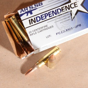 Image of 5.56x45mm ammo by Independence that's ideal for training at the range.