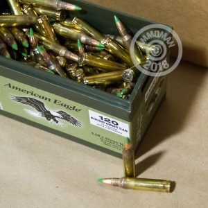 A photograph detailing the bulk 5.56x45mm ammo with FMJ bullets made by Federal.