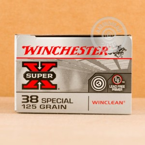 A photograph of 50 rounds of 125 grain 38 Special ammo with a Jacketed Soft-Point (JSP) bullet for sale.
