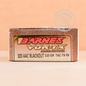 Image of 300 AAC Blackout ammo by Barnes that's ideal for precision shooting, training at the range.