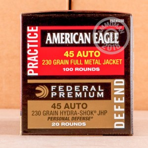 Image of bulk .45 Automatic ammo by Federal that's ideal for home protection, training at the range.