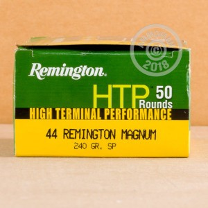 A photograph of 50 rounds of 240 grain 44 Remington Magnum ammo with a soft point bullet for sale.