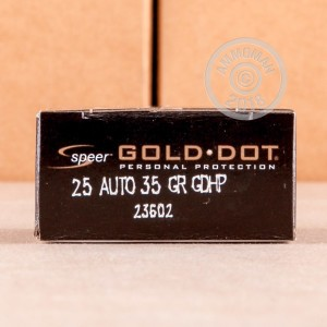 Image of .25 ACP ammo by Speer that's ideal for home protection.
