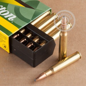 A photograph detailing the 30.06 Springfield ammo with Pointed Soft-Point (PSP) bullets made by Remington.