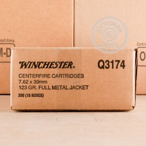 A photo of a box of Winchester ammo in 7.62 x 39.