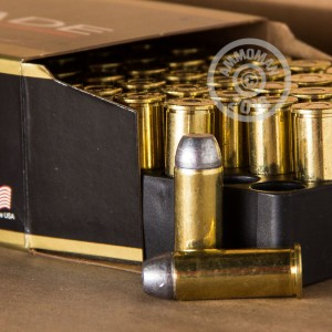 A photograph of 50 rounds of 200 grain 44 Special ammo with a Round Nose bullet for sale.