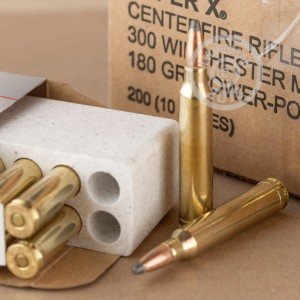 A photograph detailing the 300 Winchester Magnum ammo with Power-Point (PP) bullets made by Winchester.