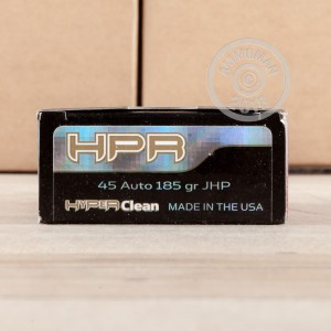 A photo of a box of HPR ammo in .45 Automatic.
