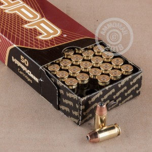 A photograph detailing the .45 Automatic ammo with JHP bullets made by HPR.