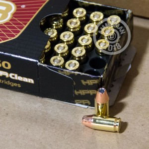 Image detailing the brass case and boxer primers on the HPR ammunition.