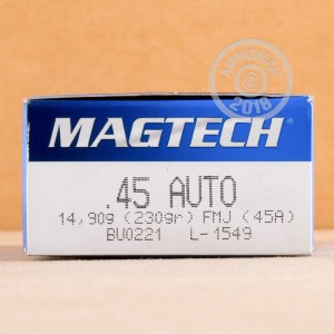 A photo of a box of Magtech ammo in .45 Automatic.