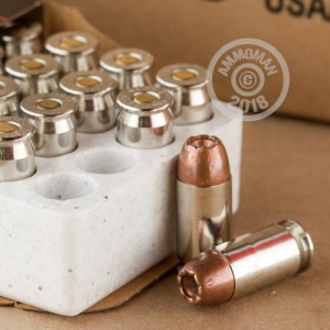 Image detailing the nickel-plated brass case and boxer primers on the Winchester ammunition.