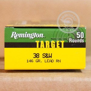 An image of .38 S/W ammo made by Remington at AmmoMan.com.
