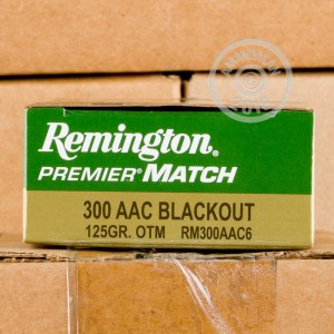 A photograph detailing the 300 AAC Blackout ammo with Open Tip Match bullets made by Remington.
