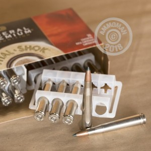 A photograph of 20 rounds of 180 grain 300 H&H Magnum ammo with a JHP bullet for sale.
