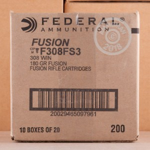 Image of 308 / 7.62x51 ammo by Federal that's ideal for big game hunting, whitetail hunting.