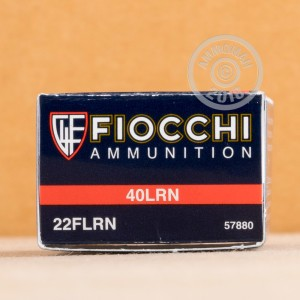 rounds of .22 Long Rifle ammo with Lead Round Nose (LRN) bullets made by Fiocchi.