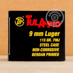 An image of 9mm Luger ammo made by Tula Cartridge Works at AmmoMan.com.