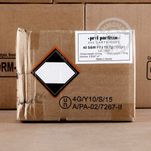 A photo of a box of Prvi Partizan ammo in .40 Smith & Wesson.