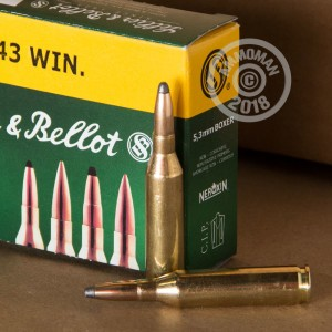 Image of 243 Winchester ammo by Sellier & Bellot that's ideal for whitetail hunting.