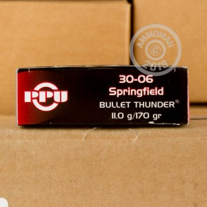 Image of 30.06 Springfield ammo by Prvi Partizan that's ideal for whitetail hunting.