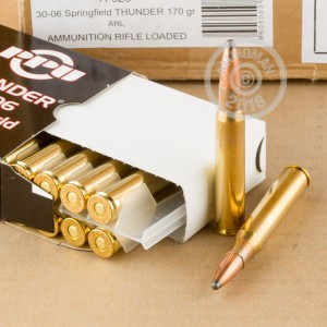 A photograph detailing the 30.06 Springfield ammo with soft point bullets made by Prvi Partizan.