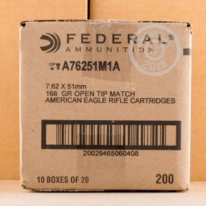 A photograph detailing the 308 / 7.62x51 ammo with Open Tip Match bullets made by Federal.