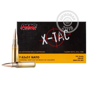 A photograph of 20 rounds of 147 grain 308 / 7.62x51 ammo with a FMJ-BT bullet for sale.