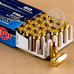A photograph detailing the 9x18 Makarov ammo with FMJ bullets made by Prvi Partizan.