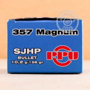 A photograph detailing the 357 Magnum ammo with semi-jacketed hollow-Point (SJHP) bullets made by Prvi Partizan.