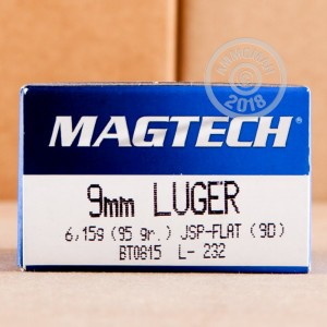 A photograph detailing the 9mm Luger ammo with Jacketed Soft-Point (JSP) bullets made by Magtech.