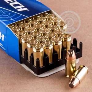 Image detailing the brass case and boxer primers on the Magtech ammunition.