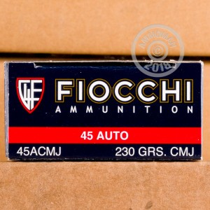 Image of .45 Automatic ammo by Fiocchi that's ideal for shooting indoors, training at the range.
